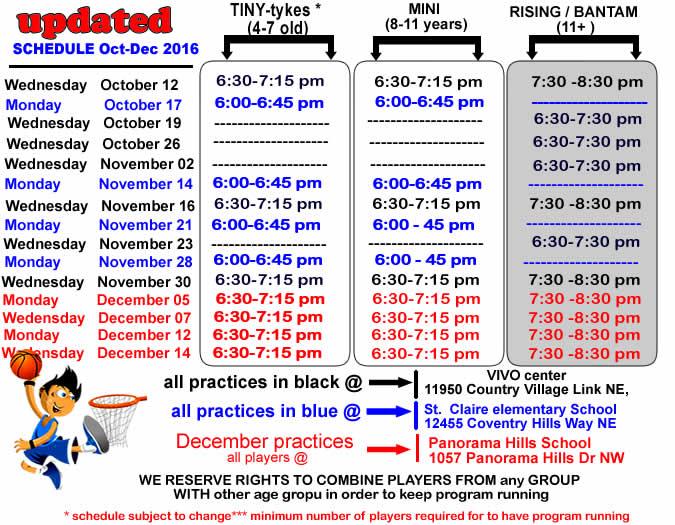 basketball schedule-fall-2016